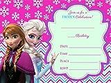Frozen Elsa Olaf 12 biglietti d'invito per compleanno, con buste, colore: blu