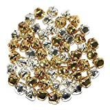 Christmas Gold, Silver or Multicolour Metal Festive Arts & Craft Jingle Bells (1, 15mm Gold / Silver (60 Pack))