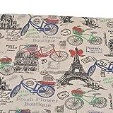 Tela de algodon retro de lino Paris en bicicleta para tapizar sillas descalzadoras para manualidades, costura cojines guirnaldas caravanas escaparates cortinas 145 x 50 cm .de OPEN BUY