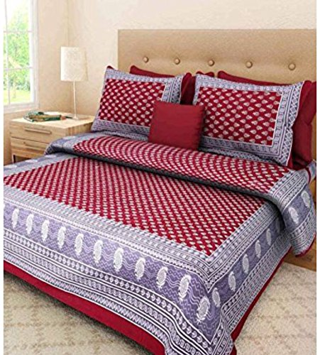 bedsheet( Rangeela rajasthan cotton rajasthani king size double bedsheet with 2 pillow cover)