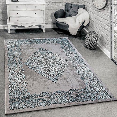 Tappeto di Design Moderno Soggiorno 3D Motivo Barocco in Grigio Turchese Crema, Dimensione:120x170...