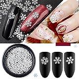 Frcolor Unghie artistiche fai-da-te, adesivi per unghie artistiche fiocco di neve Decalcomanie bianche ultra sottili per ragazze