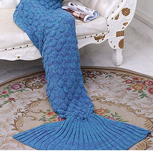 BEESCLOVER Fish Scales Style Knitted Mermaid Tail Blanket Sleeping Bag for Adult and Kids (Royal Blue)