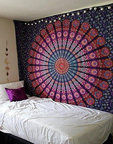 Raajsee - Arazzo stile Mandala con piume viola, stile bohemien-hippy con elefante, decorazione da parete psichedelica, regalo di Natale. Cotone, multicolor Dimensioni,, 220*210 cms