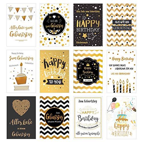 Edition Seidel Set 12 exklusive Premium Geburtstagskarten mit feiner Goldprägung und Umschlag. Glückwunschkarte Grusskarte Geburtstag Geburtstagskarte Mann Frau Karten Happy Birthday Billet Sprüche