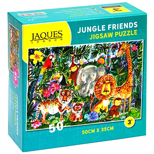 Jaques of London Jungle Friends Jigsaw Puzzle for Kids - 50 Pezzi Jigsaw Puzzle per Bambini - Puzzle...