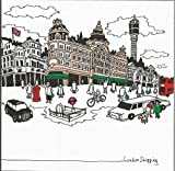 LONDON SHOPPING SKYLINE HARRODS BT POST OFFICE TOWER London Bus Black Cab Any Occasion Greetings Card