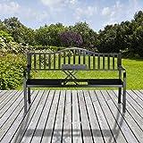 Relaxdays Gartenbank mit Klapptisch, 3-Sitzer, integrierte Tischablage, wetterfest, HxBxT 90 x 150 x 57,5 cm, schwarz - 5