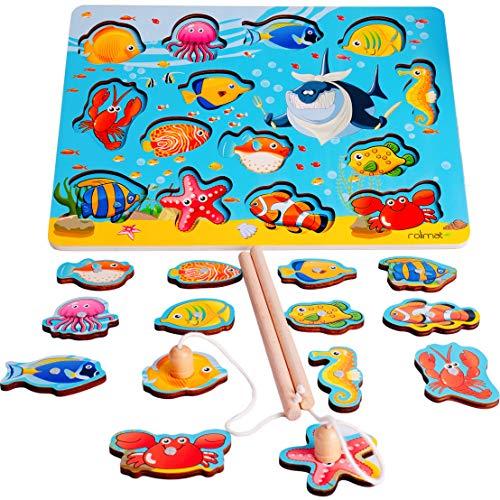 Rolimate Giochi di Pesca Magnetica da 14 Pezzi Puzzle di Legno Giochi Magnetici Giochi di Puzzle...
