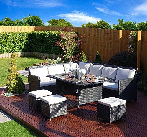 Aldi Corner Rattan Effect Sofa Cover: 9 Seater Rattan Corner Garden Sofa & Dining Set Furniture