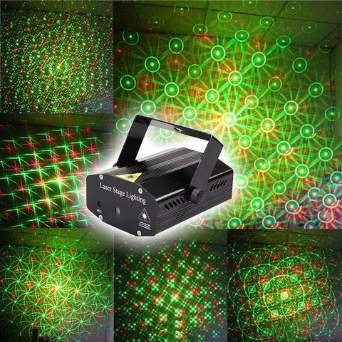 REAL HOMES Mini Laser Projector Stage Lighting Sound Activated Light for Party and DJ, Small Party, Birthday Party (New Model)