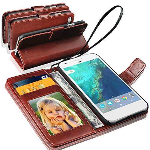 N+ INDIA Rich Leather Stand Wallet Flip Case Cover Book Pouch Phone Bag Antique Leather for Google Pixel Brown
