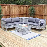 Deals Online Wido GREY RATTAN 4 PIECE OUTDOOR CORNER SOFA WITH COFFEE TABLE & STORAGE GARDEN PATIO