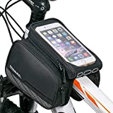 WOTOW Cycling Frame Pannier Phone Holder, 3 in 1 Waterproof Top Front Tube Bag Double Pouch Phone Mount for 5.7 inch Cellphone