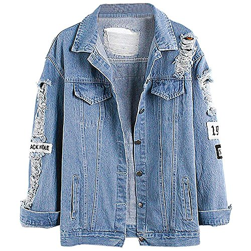 Keven Damen Jeansjacke mit Patches Stretch-Denim Cut-outs Blau Lose...