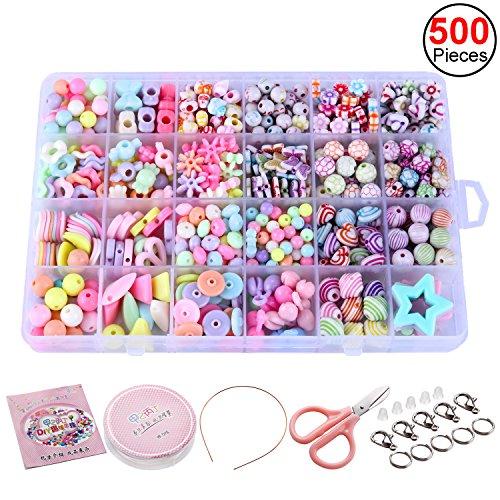 Sasairy 500 pz DIY Perline Multicolore Kit per Produzione di Gioielli Collana Bracciali Fascia per...