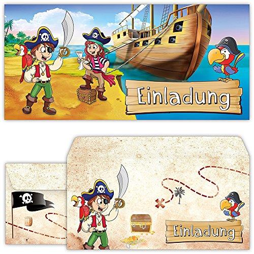 Beriludesign Piraten Einladungskarten Mit Umschlagen 12er Set Zum