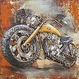 Tableau Métal 3D Harley Davidson. Art Métal Peint en Relief. Dimensions 60 X 60 X 7 cm. Décoration Murale Métallique. Tableau Métal Harley Jaune. Décoration Design Contemporaine. Exclusivité. En Stock