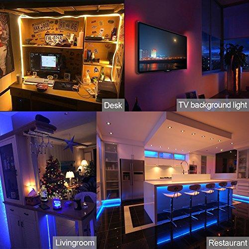 Walfront LED-Streifenlicht, neuer RGB-LED-Computer-TV-Hintergrundlichtstreifen 5050 + Controller + Verkabelung + Fernbedienung für 40 bis 60 Zoll HDTV, PC-Monitor