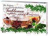 Feelino Teeblumen Geschenk-Kollektion, Adventskalender, Kalender mit 24 verschiedenen Teerosen, einzeln vakuumiert, weißer Tee, grüner Tee, schwarzer Tee
