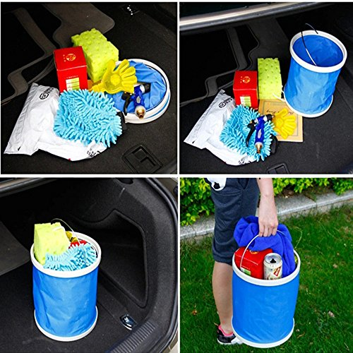 DYBOHF Cubo Plegable Cubeta de Agua portátil Multiuso - Apto para Acampar, Deportes al Aire Libre, Uso doméstico, Cubo de Agua para Lavado de Autos Capacidad - Ligero y fácil de Transportar (11L) 4