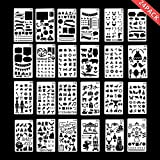 Climberty Bullet Journal Stencil Various DIY Drawing Templates Plastic Planner Stencil 24 Pieces for Notebook,Diary