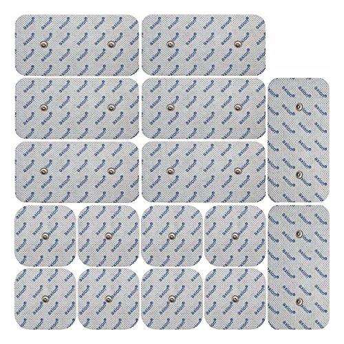 Set electrodos para electroestimuladores COMPEX - 16 parches para electroestimuladores TENS EMS conexión de botón - Almohadillas calidad axion