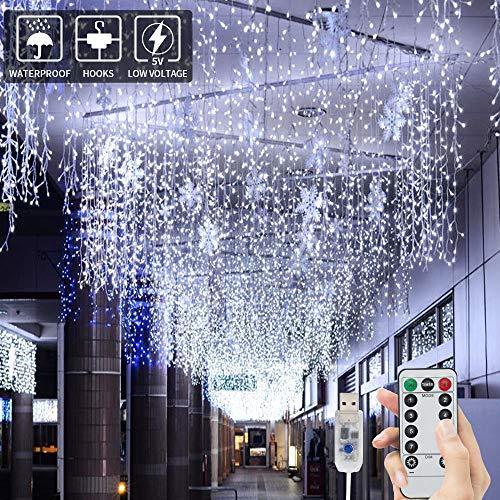 BLOOMWIN Tenda Luminosa 8 modalità 6V a Bassa Tensione 6M * 1M 300 LEDs USB Luci Stringa Funzione...