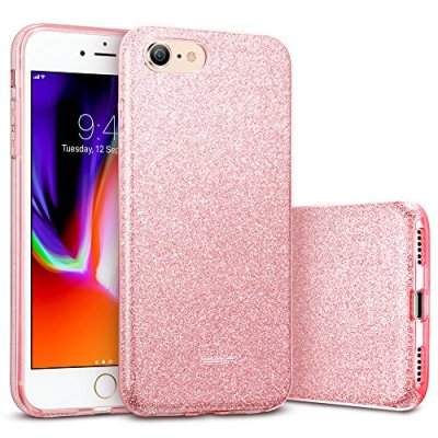 ESR Cover iPhone 8,Cover iPhone 7, Custodia con Glitter Bling Scintillante Brillantini [Tre Strati] per Donna [Supporta la Ricarica Wireless] per iPhone 8/7(Oro Rosa)