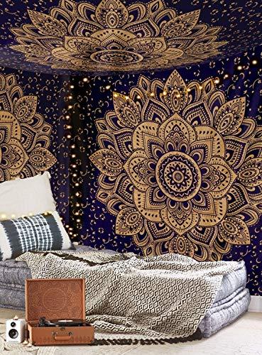 Aakriti Gallery - Copriletto indiano, stile mandala, bohémien, con intricato motivo psichedelico,...
