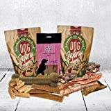 Straußentestpaket mit Straussenfleisch Straussensticks Kaustreifen Strauss und Straussenknochen alles ohne jedliche Zusätze oder Konservierungsstoffe Dörrfleisch für den Hund
