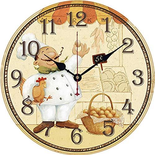 YUN Clock@ Orologio da Muro Serie di Pasticceria dello Chef Silenzioso Orologio da Cucina in Legno,...