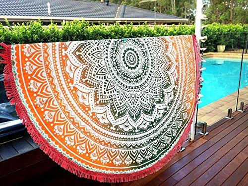 Telo da mare motivo mandala indiano, rotondo, stile, da usare anche come tovaglia, tappetino per...