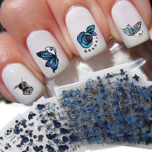 Haodou 24 Hojas 3D etiqueta engomada del clavo Patrón de planta de mariposa calcomanías de uñas azules Pegatinas de arte de uñas Azul flor punta autoadhesiva Nail Art Stickers