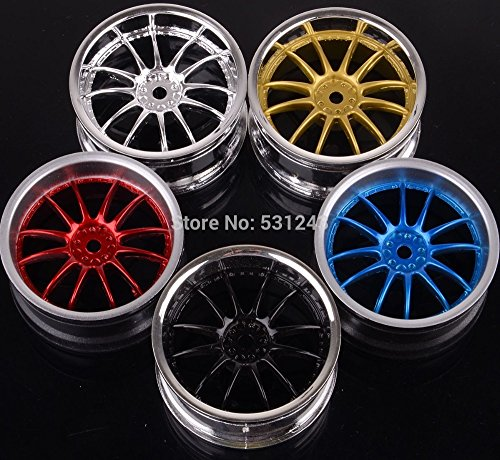 "Generic Gold : 4pcs plastic 12-spoke 1.9"" Wheel Rims for 1:10 RC 4WD On-Road Car REDCAT HIMOTO HSP HPI Racing 9003A"