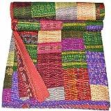 Couvre-lit indien vintage en soie patola Motif Kantha fait à la main...