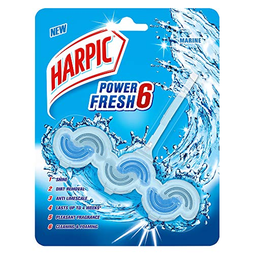 Harpic Power Fresh 6 Toilet Rim Block, Marine - 39 g