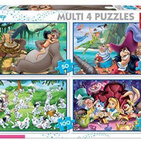 Educa Borrás - Puzzle de Los 101 Dalmatas, El Libro de la Selva, Alicia y Peter Pan (18105)