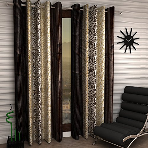 Brown Home Sizzler Eyelet Polyester Window Curtain