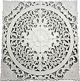 DRW Mandala Tallado de Madera Calada Blanco 70 x 70 cm