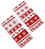 Nordic Snowflake And Reindeer Red And White Christmas Pack Of Two Tea Towels (20in x 27in each-45cm x 65cm Approx)