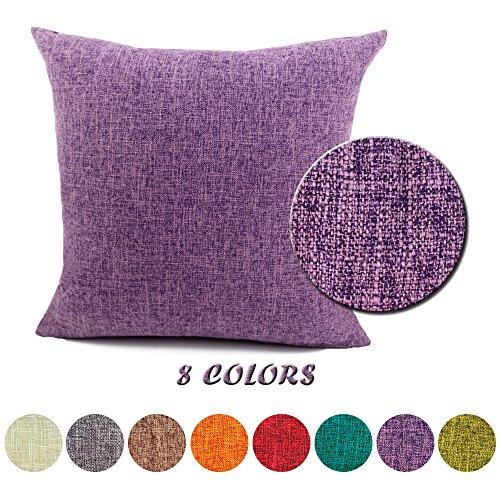 J&T Federe per cuscini Moda Vintage di Cotone Lino Divano Federa Cuscino Letto Geometria Rettangolari Cuscini e federe 40x40cm Viola