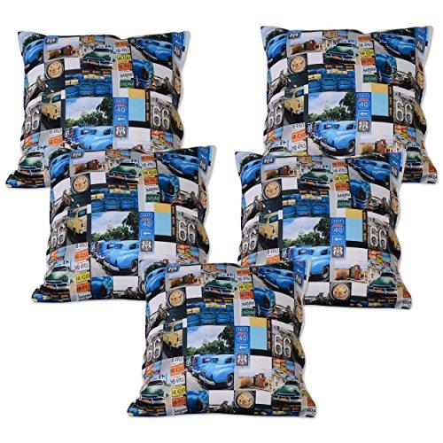 Story @ Home Blue Designer Digital Print Cushion Cover Set of 5 Pcs