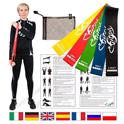FitFitaly Set Elastici per Fitness e Fisioterapia con PDF x Esercizi in Italiano - 5 Bande Elastiche