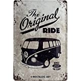 Nostalgic-Art VW Bulli The Original Ride Placa Decorativa, Metal, Gris y Azul, 20 x 30 cm