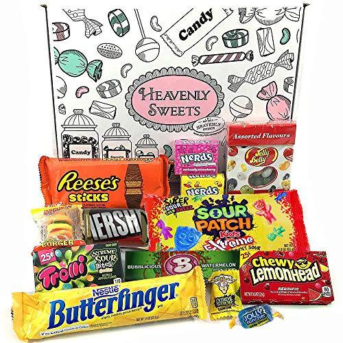 Confezione Piccola di Snack Americani | Caramelle e Cioccolato per Idea Regalo di Natale e Compleanno | Vasta Gamma tra cui Jolly Rancher Reeses Jelly Belly | 13 Pezzi in Confezione Vintage di Cartone