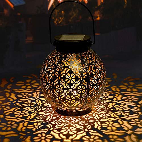 Lanterna Solare Giardino GolWof LED Lanterna Solare Esterno Vintage Luce Bianco Caldo Luce Solare...