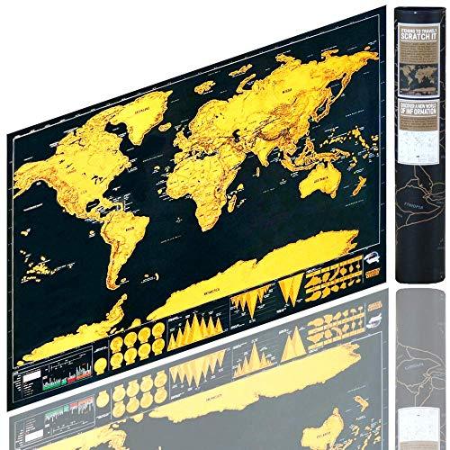 Berry King Travelgoals Mappa del mondo Mappa Worldmap Scratch Off, Scratch Black / Gold con...