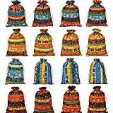 Gejoy 16 Pezzi Gioielli Sacchetti di Cotone Tessuto Stoccaggio in Stile Egiziano Sacchetti di Lino Coulisse Sacchetti di Imballaggio per la Conservazione