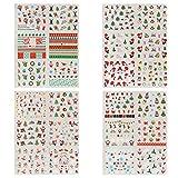 Naler Decalcomanie di adesivi di arte del chiodo di Natale, 24 Decalcomanie per adesivi per diapositive per cani, bambine e ragazze
